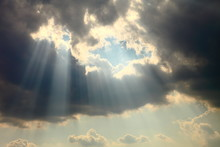 Ray Of Sun Light Shine Through The Gap Among Cloud For Hope And Optimism Concept