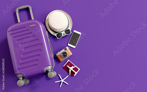 Flat lay purple suitcase with traveler accessories on purple background Fototapeta