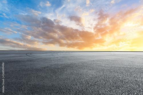Empty race track and sky nature landscape at sunrise Fotobehang
