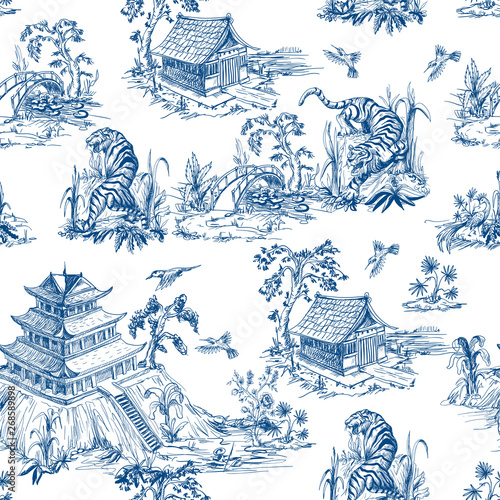 obraz lub plakat Seamless pattern in chinoiserie style for fabric or interior design.