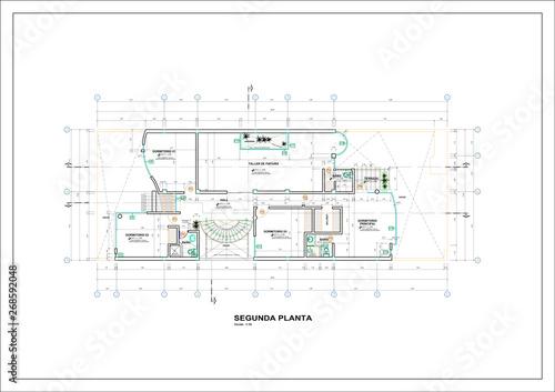 Fotografia, Obraz  Plano Casa de Verano, Casa de Finca