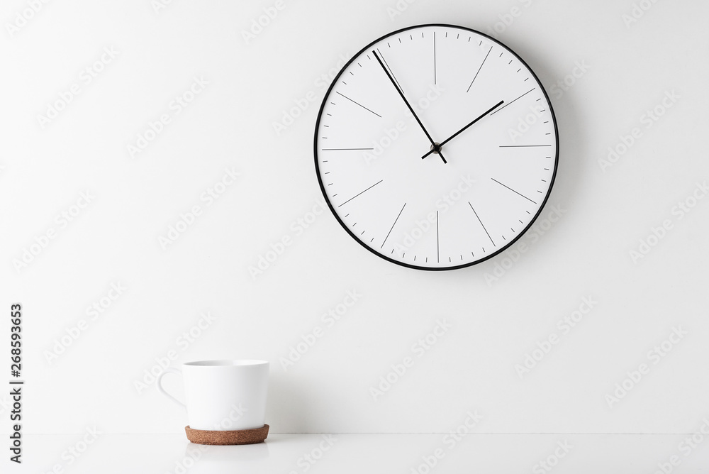 Fototapety, obrazy: Home office minimal workspace desk with wall clock