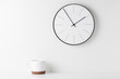 Leinwanddruck Bild - Home office minimal workspace desk with wall clock