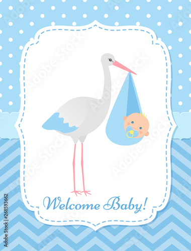 Baby Shower Invitation Card Vector Baby Boy Banner Welcome Template Invite Blue Design Cute Birth Party Background Happy Greeting Poster With Newborn Kid And Stork Cartoon Flat Illustration Buy This Stock
