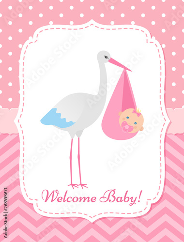 Baby Shower Invitation Card Vector Baby Girl Banner Welcome Template Invite Pink Design Cute Birth Party Background Happy Greeting Poster With Newborn Kid And Stork Cartoon Flat Illustration Buy This Stock