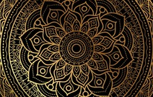 Elegant Background With Gold Luxury Floral Pattern Texture And Traditional Arabian Mandala Concept, Use For Islamic Ramadan Banner Design, Business Card Greeting Card, And Poster Design Vector Eps10