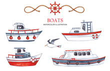 Large Set Of Boats On A White ...