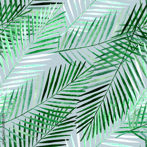 Ingelijste posters Tropische Bladeren Seamless tropical pattern with green palm leaves on grey green background.