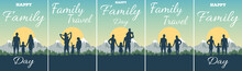 Greeting Card With Text Happy Family Day And Travel. Silhouette Of Father, Mother, Daughter And Son On Background Of Adventure Landscape And Mountain. Family In Nature At Sunset.