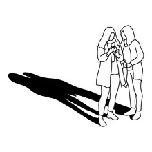 Two Woman Using Mobile Phone W...