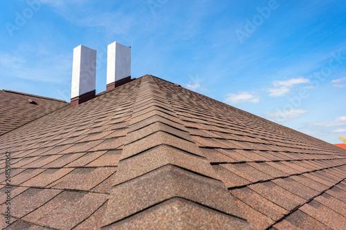 Obraz na plátně Asphalt tile roof with chimney on new home under construction