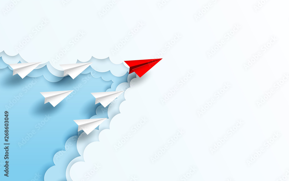Fototapeta Business  leadership ,financial concept. Red paper plane leadership  to sky go to success goal. paper art style. creative idea. vector ,illustration.