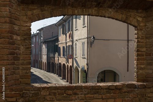Photo View from a Window in the Castle: Main Street, Colonnade and Houses in Fontanell