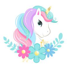 Cute Magic Cartoon Unicorn Head With Flowers. Illustration For Children