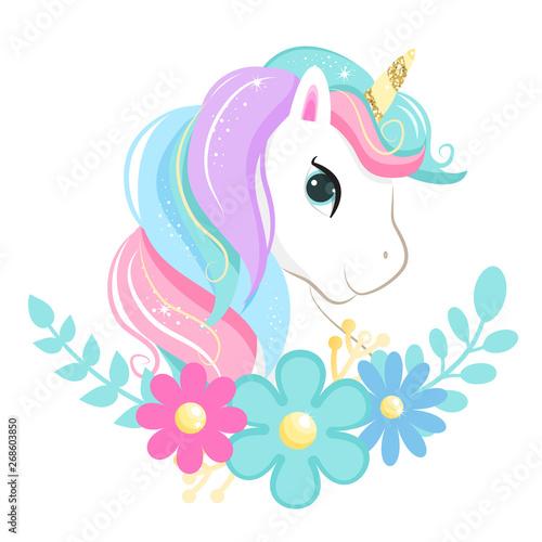 Printed kitchen splashbacks Fairytale World Cute magic cartoon unicorn head with flowers. Illustration for children