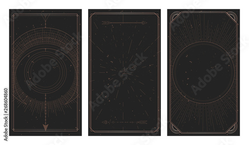 Tablou Canvas Vector set of three dark backgrounds with geometric symbols, grunge textures and frames