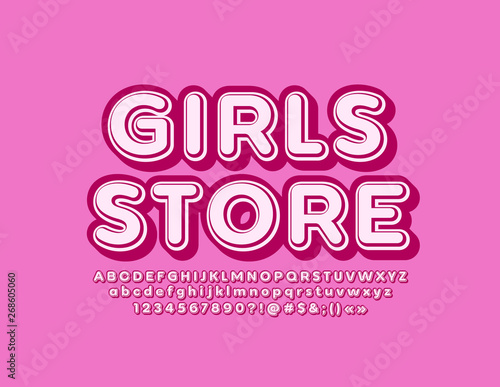 Vector marketing sign Girls Store with 3D Alphabet  Pink Vintage