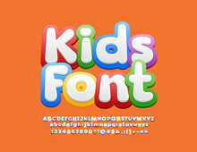 Vector Kids Font. Children Alp...