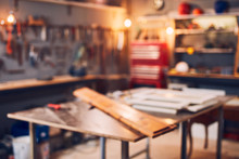 Retro / Vintage Workshop With Misc. Tools. Blurred Image For Background.