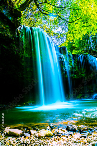 Aluminium Prints Waterfalls Nabegatai, waterfall in forest, Kumamoto Japan