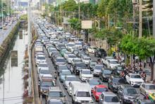 Traffic Jam In Bangkok City In Long Weekend