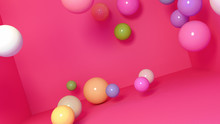 3D Render Modern Room With Colorful Spheres.
