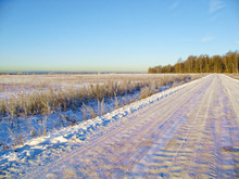 Winter Road In The Early Sunny...