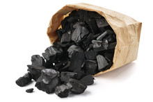 Paper Bag Of Charcoal Isolated...