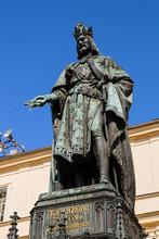 Statue Of Charles IV Karolo Quarto In Prague
