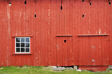Red Barn With Windiws And Doors