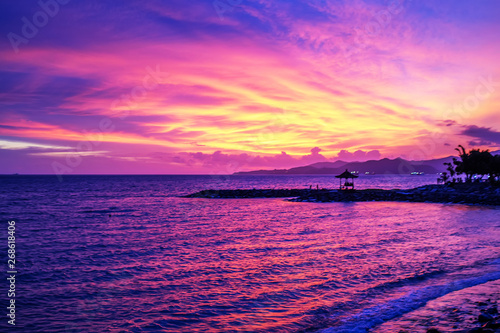 Poster Mer coucher du soleil beautiful sunset on the sea
