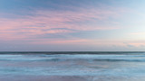 Beautiful artistic colorful landscape image of blurred waves at sunset in Devon Enlgand - 268619292
