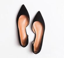 Feminine Black Suede Shoese Isolated On White Background