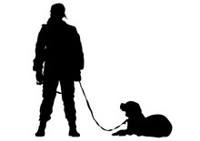 Woman In Police Uniform Whit Dog On White Background