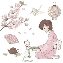 Vector Set Of Japan Elements With Girl And Sakura Isolated On White. Illustration Of Japan Hanami Festival.