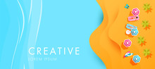 Creative Abstract Summer Cover With Sea, Beach, Sand, Sun Beds And Umbrellas With Space For Text.
