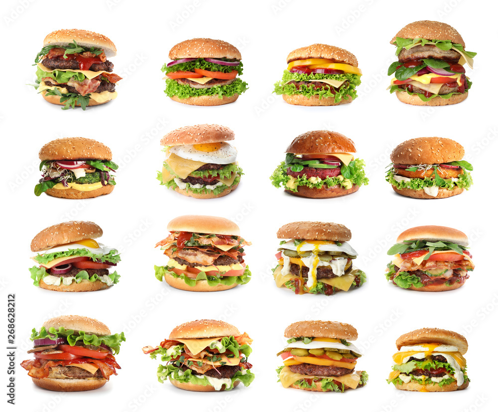 Fototapety, obrazy: Set of delicious burgers on white background