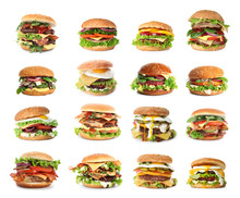Set Of Delicious Burgers On Wh...