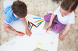 canvas print picture - Children drawing with color pencils