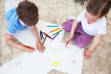 Children drawing with color pencils - 268628816