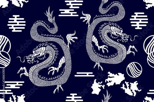 Türaufkleber Künstlich Silk kimono print with dragons.