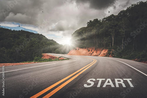 Fotografie, Obraz  START point on the road of business or your life success