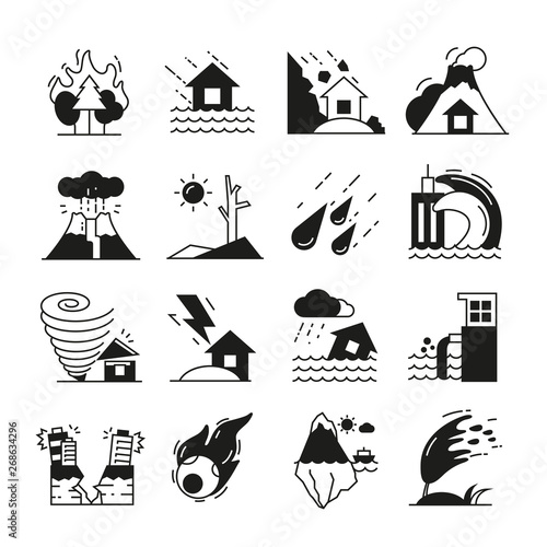 Leinwand Poster natural disaster icons