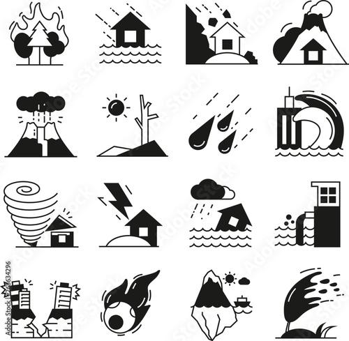 Fotomural natural disaster icons