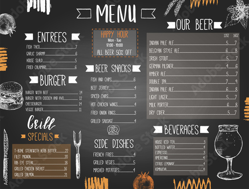 Beer pub or bar menu template with hand drawn food and beer