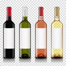 Wine Bottles Set With Blank Label, Isolated On Transparent Background.