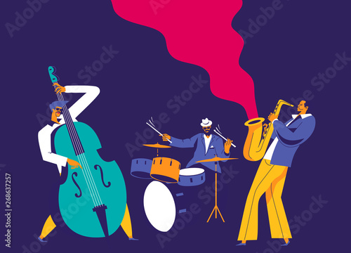 Fotografía  Jazz musicians trio. Modern flat colors illustration.