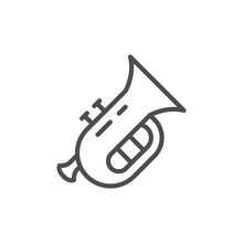 Musical Instrument Tuba Line Outline Icon