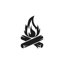 Camp Fire Icon. Bonfire Burning On Firewood Sign. Vector.
