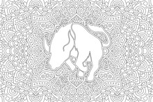 Coloring Book Page With White Bull Silhouette